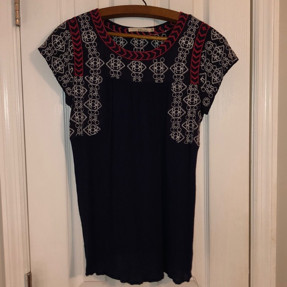 Ellison Tops - Navy blue blouse with red and white accents
